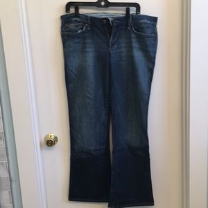 Flared Joe's Jeans with some distressing